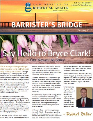 Tampa Bankruptcy Attorneys Newsletter February 2017